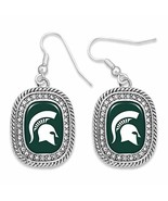 Michigan State Spartans Madison Silver Rounded Rectangle Earrings Jewelr... - $16.82