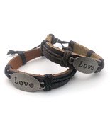 "Adjustable Threaded Leather Bracelet with ""Love"" on a Metal Plate - Pick... - $8.99"
