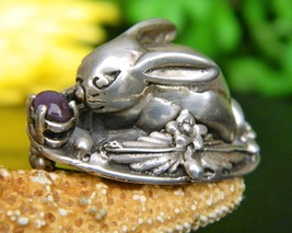 Vintage rabbit bunny brooch pin sterling silver amethyst handcrafted thumb200