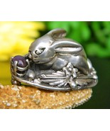 Vintage Bunny Rabbit Brooch Pin Sterling Silver Amethyst Handcrafted - $94.95