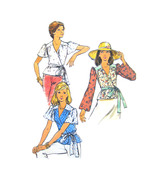 1970s Vintage Butterick Sewing Pattern 3554 Misses Front Wrap Top Peplum... - $7.95
