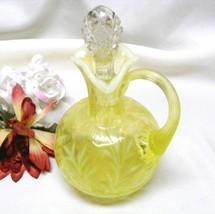2681 Vintage Fenton Fern N Daisy Vaseline Opal Cruet  - $95.00