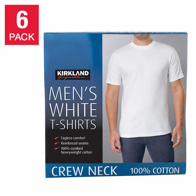 Primary image for NEW KIRKLAND SIGNATURE MEN'S CREW NECK TEE * 6 Pack FREE SHIPPING