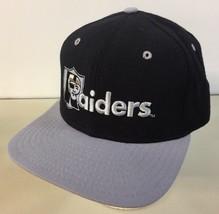 Vintage 1990s Raiders New Era SnapBack Hat Team NFL Black Embroidered Made USA - $39.59