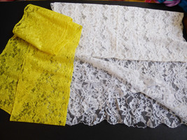 VTG set of 2 pc White & Yellow Lace ladies vail scarf head covering neck... - $15.15