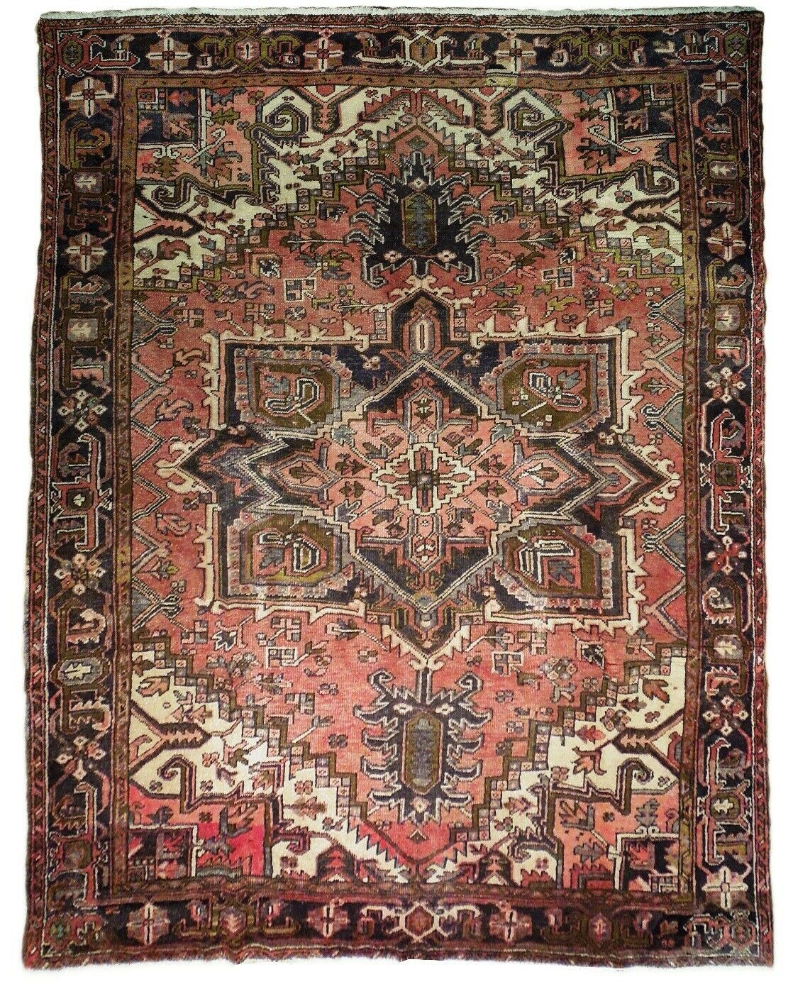 8x11 Red Heriz Wool Handmade Rust Worn-out Antique over 100 y o Persian Rug