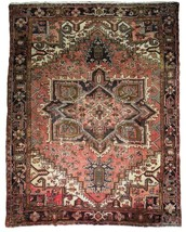 8x11 Red Heriz Wool Handmade Rust Worn-out Antique over 100 y o Persian Rug image 1