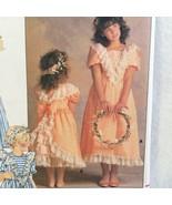 Vintage Butterick 4768 Girl's Dress Size 14 Lace V Front Trim Full Skirt... - $8.00