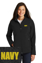 US Navy Logo Embroidered Black Port Authority Core Soft Jacket J317 - $39.99