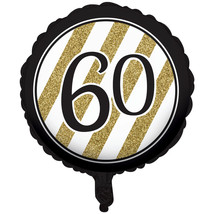 "Black & Gold Metallic 60th Birthday Balloon 18"", Case of 10 - $35.68"