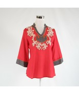 Salmon red gray cotton blend BRITISH INDIA TRAVELLER blouse 3 S NWT $199.00 - $74.99