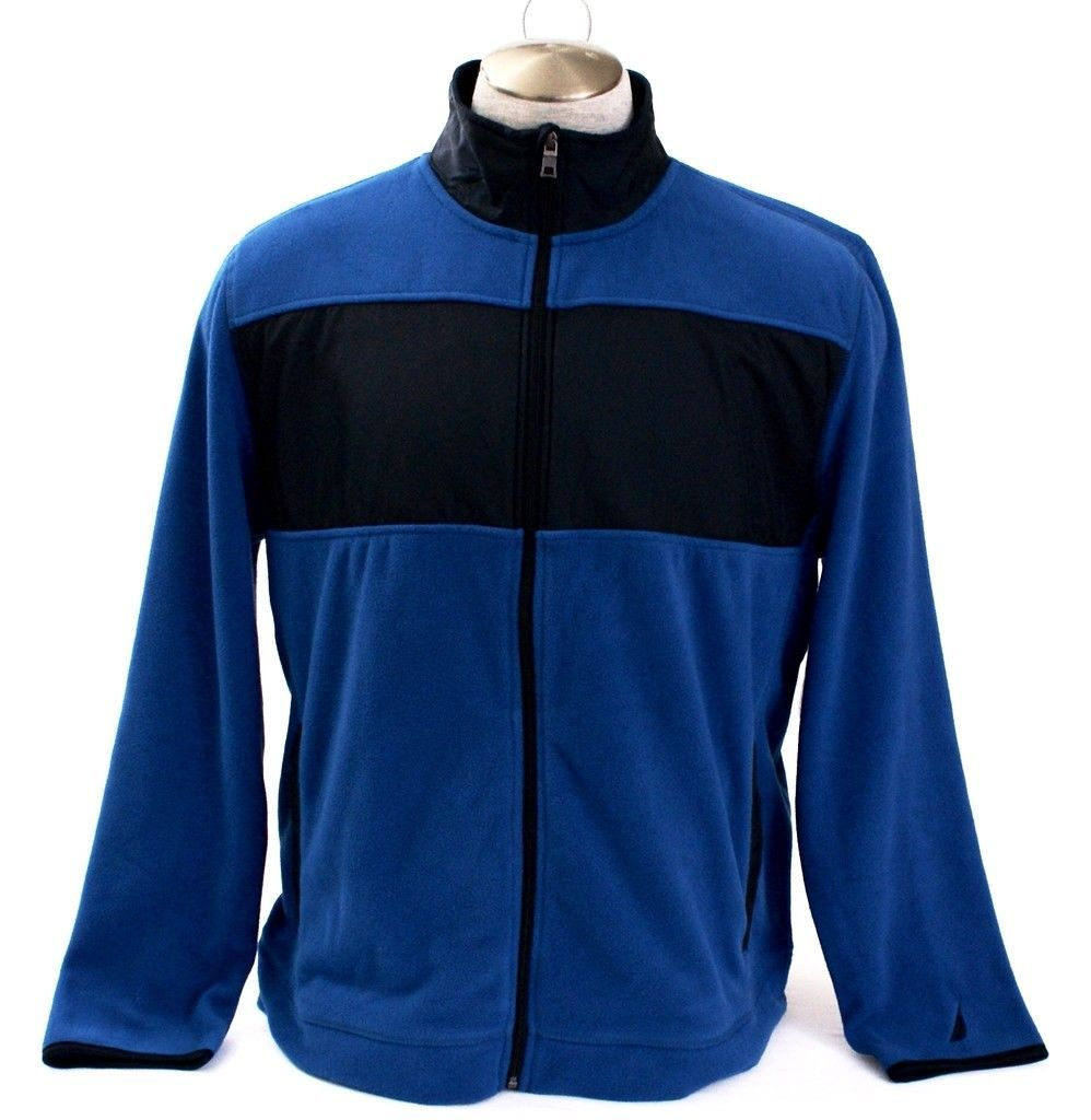 Primary image for Nautica Blue & Black Zip Front Fleece Jacket Men's NWT