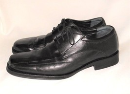 Johnston & Murphy 11.5 M Oxford Shoes Black Leather Mens Lace Up Square Toe - $26.99