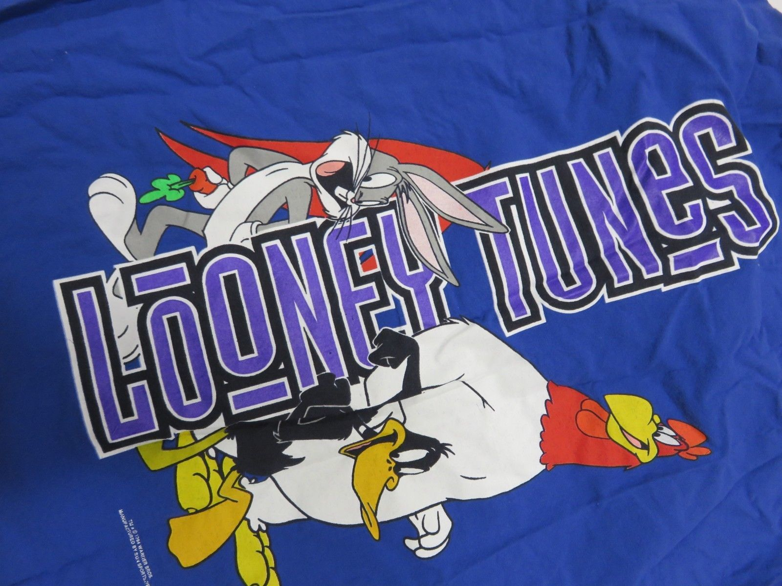 VTG 1994 Looney Tunes Blue Button Up Shirt Adult Men's Size Large Made in USA
