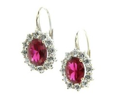 18K WHITE GOLD FLOWER LEVERBACK EARRINGS BIG 7x9mm OVAL RED CRYSTAL, ZIRCONIA image 1