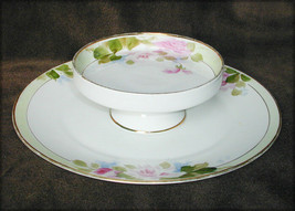 Nippon vegetable dip cheese cookie tidbit plate china plate bowl flower gold rim - $9.50