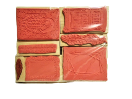 Set of 7 NEW Wood Mounted Rubber Stamps, Various image 2