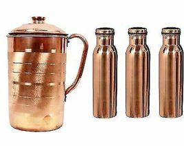 Drinking water 100% Pure Copper Ayurveda Health Benifit Set Of 1 Jug 3 B... - $51.29