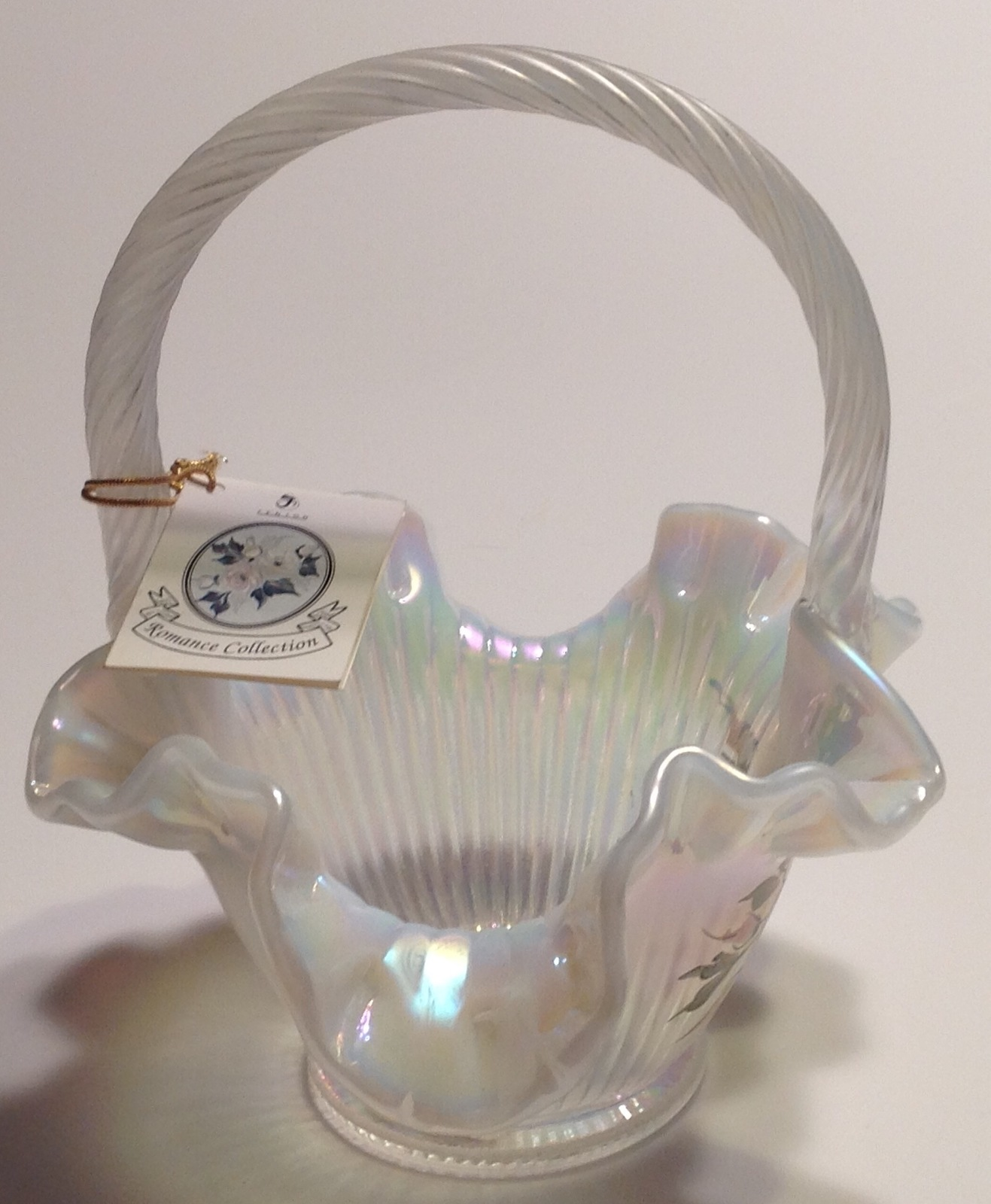 Fenton Opalescent Glass Basket Artist Signed Mackay Hand Painted image 2