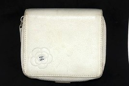 Authentic CHANEL Beige Leather Floral CC Logos Bifold Wallet Coin Purse ... - $122.76