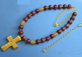 Ruby Vermeil Necklace w Artisan Handmade XIth Century Repro French Cross... - $341.55