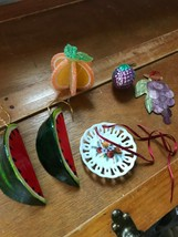 Lot of 6 Vintage to Now Paper Mache Watermelon Sugary Sliced Orange Grap... - $11.29
