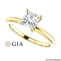 1/2 (0.50) Carat Princess Cut GIA Certified Diamond Ring in 14K Gold - $1,599.00
