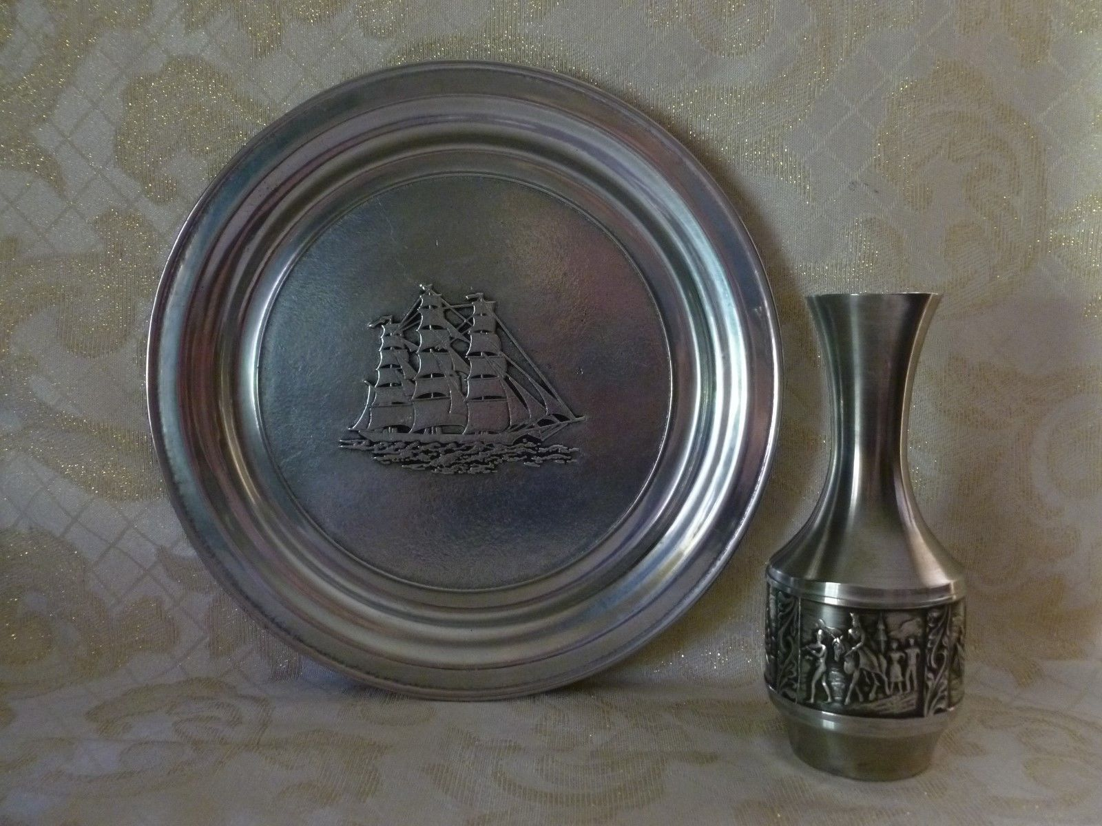 Wilton Large Pewter Plate Ship Pattern And Norway Vase With Viking Design