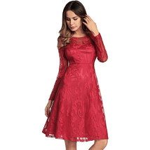 AOVEI Red Lace Long Sleeve A Line Bridesmaid Night Out Cocktail Pleated Dress - $29.99