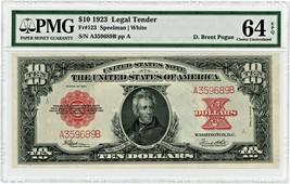 FR. 123 1923 $10 Legal Tender PMG Choice Unc 64 EPQ ex: Eliasberg - $11,834.00