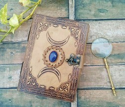 Vintage Leather Journal third eye stone journal Diary With Brass Magnifier - $32.73