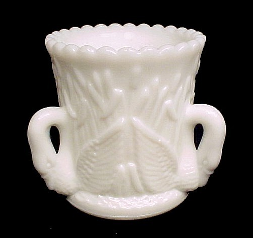 46878a westmoreland milk glass toothpick holder 3 swan in rushes white