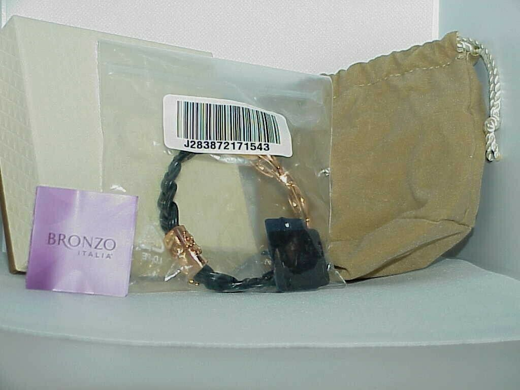 "Bronzo Italia Rose Gold tone Status Black Braided link Leather Bracelet  8."" QVC"