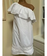Abercrombie & Fitch embroidered lace white off shoulder short dress S small - $14.84