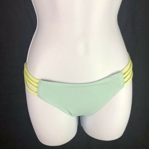 L Space Strap Side Full Cut Bikini Bottoms Color Bloch Green Blue Womens M Med