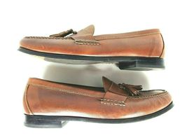 Cole Haan Men's Brown Leather Slip On Dress Pinch Tassel Loafer Sze 12 Air Sole  image 3