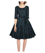 26 RETRO CHIC BLACK BLUE PAISLEY CUFFED 3/4 SLEEVE DRESS LIKE TORRID PLU... - $37.00