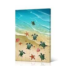 VVOVV Wall Decor Turtle Decor Canvas Art Prints Sea Turtle Starfish Gold... - $68.58