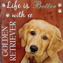 DOG LOVER PLAQUE Life is Better with a Golden Retriever 8x8 Wooden Pet Wall Art image 2