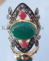 Victorian 0.85ct Rose Cut Diamond Emerald Ruby Wedding Ring Christmas Se... - $563.39