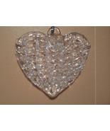 spun glass hearts, set of 6 glass hearts, vintage victorian heart ornament - $12.50