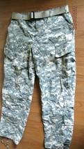# US Army Mens Reg Trousers Combat Uniform Size L Camo Pants & Belt Military - $28.70