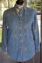 "The Disney Store Front Button Winnie The Phoo Blue Jean Shirt Sz. M  42"" Bust - $9.89"