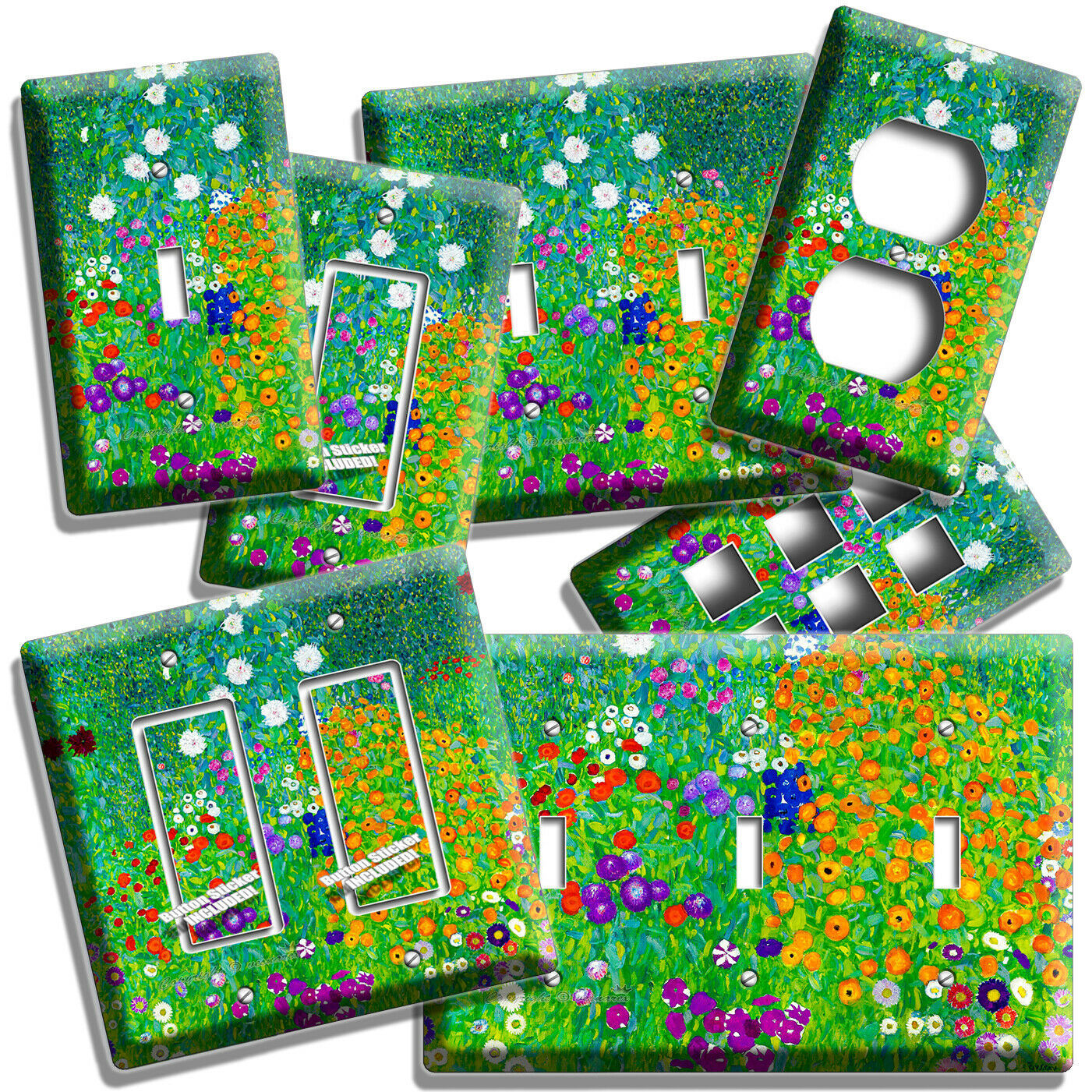 Primary image for GUSTAV KLIMT COLORFUL FLOWER FIELD PAINTING LIGHT SWITCH OUTLET WALL PLATE DECOR
