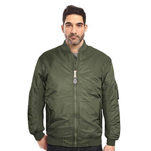 Maximos USA Men's Padded Water Resistant Reversible Flight Bomber Jacket (Medium