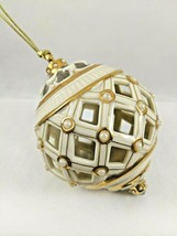 "Lenox Florentine with Pearls Ball Bulb Christmas Ornament Cream Gold 3"" EUC - $19.99"