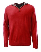 Club Room Men's Cherry Red 1/4 Zip Merino Wool Blends Knit Pullover Sweater - £38.36 GBP