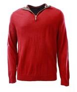 Club Room Men's Cherry Red 1/4 Zip Merino Wool Blends Knit Pullover Sweater - $49.99