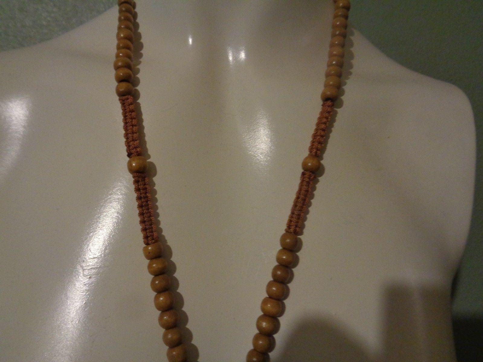 "Bongo Beads Wood Cross Necklace NIP Light Blonde Natural Wood 21"" Unisex"