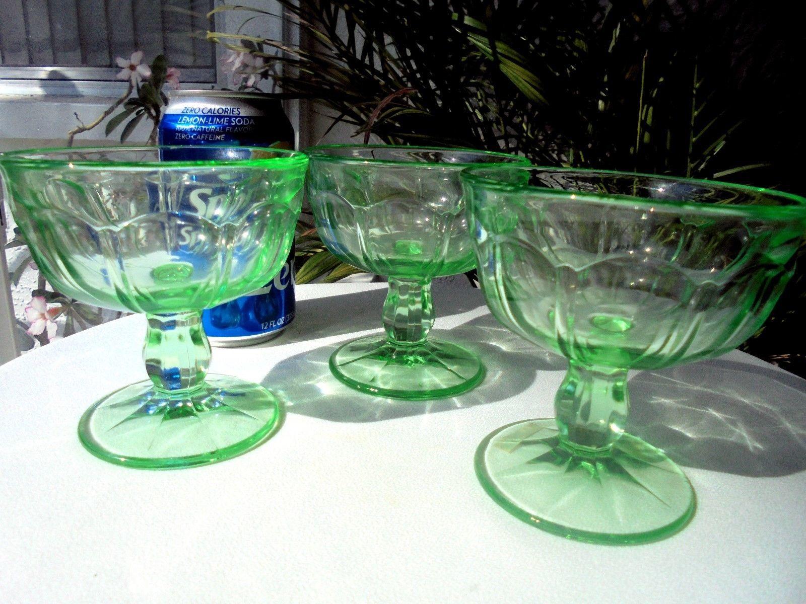 Set of 3 Vaseline Glass Green Sherbet Champagne Glasses c 1930's